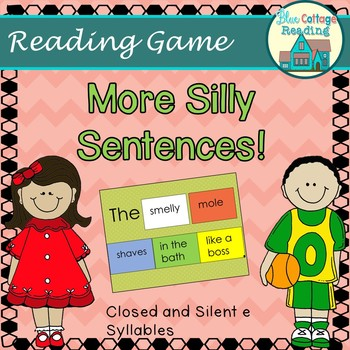 Silly Sentence Maker- Level 2 Silent e and Closed Syllables