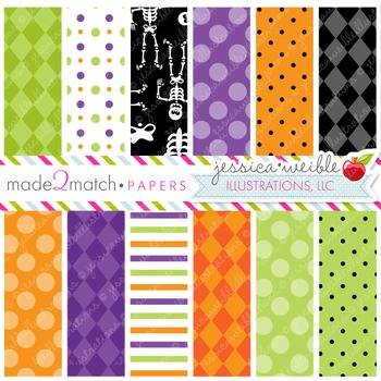 Silly Skeletons Matching Digital Papers, Halloween Papers