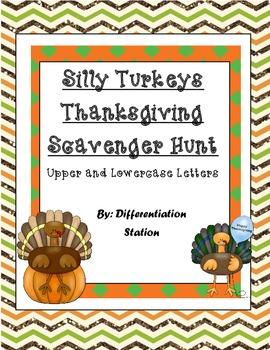 Silly Thanksgiving Turkeys Alphabet Scavenger Hunt: Upper