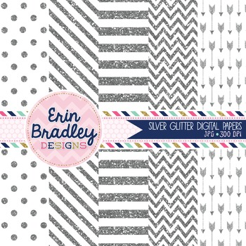 Silver Glitter Digital Papers