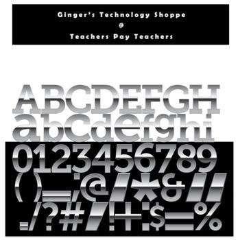 Silver Metallic Characters * Alphabet * Numbers * Punctuat