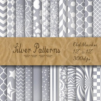 Silver Pattern Digital Paper Designs - 24 Different Papers