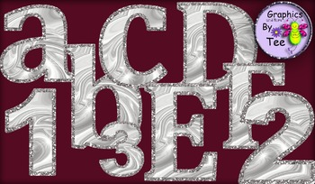 Silver Satin and Glitter Letters and Numbers Clipart