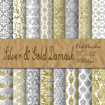 Silver and Gold Damask Digital Paper Pack - 16 Different P