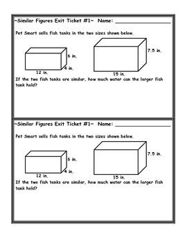 Similar Figures Volume Word Problem Exit Ticket