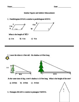 Similar Figures and Indirect Measurement Quiz