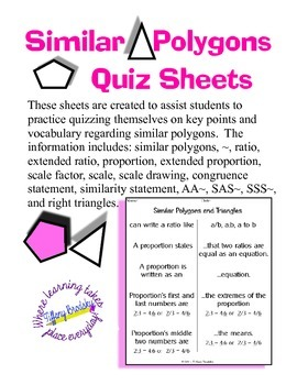 Similar Polygons and Triangles Self Quiz Sheets for Geomet