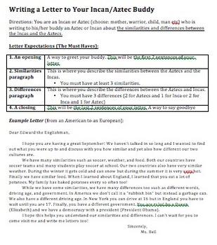 Similarities/Differences between Aztecs & Incas via Letter