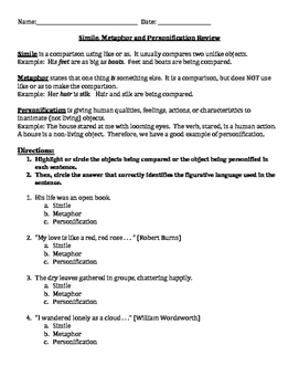 Simile, Metaphor and Personification Review