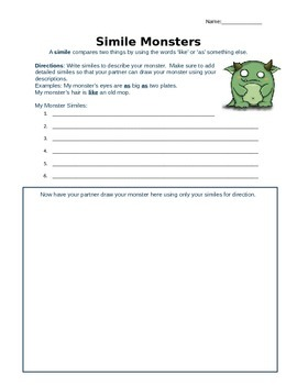 Metaphor and Simile Monsters: An engaging activity to teac