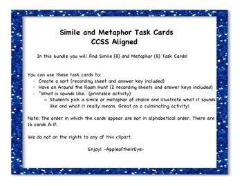 Simile and Metaphor CCSS Aligned Task Card Bundle