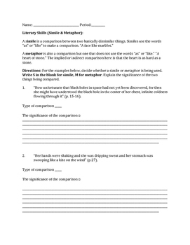 """Simile and Metaphor Worksheet """"Like Water for Chocolate"""""""