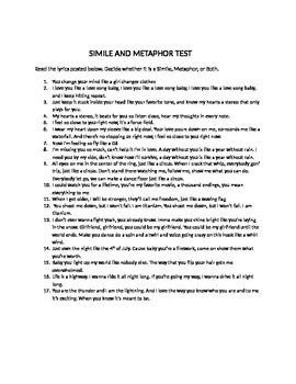 Simile and Metaphor test using song lyrics