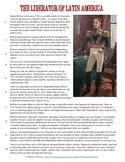 Simon Bolivar Reading, Worksheet, and Graphic Organizer