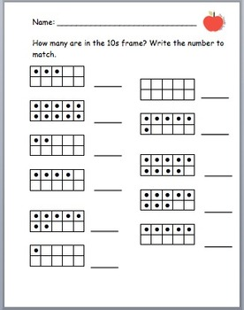 Simple 0-10 Tens Frame Homework/ Worksheet