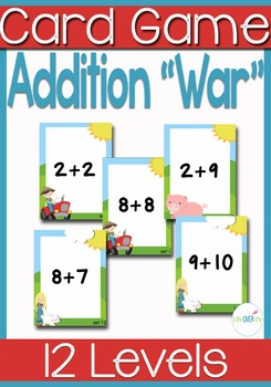"""Addition Facts 1-10 """"War"""" Card Games and printables"""