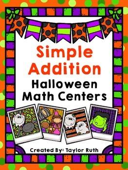 Simple Addition Halloween Math Centers