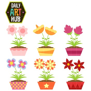 Simple And Cute Flowers Clip Art - Great for Art Class Projects!