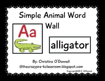 Simple Animal Word Wall Set