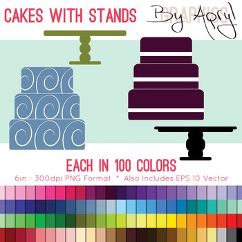 Simple Cakes and Stands Clip Art in 100 Colors PNG and Vec