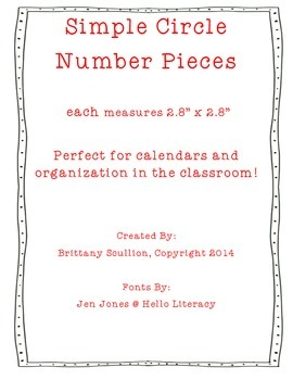Simple Circle Number Cards, Red