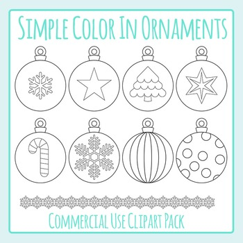 Simple Coloring Christmas Ornaments / Baubles Clip Art Pac