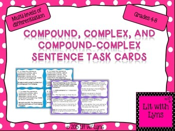 Simple, Compound, Complex, & Compound-Complex Task Card Sample