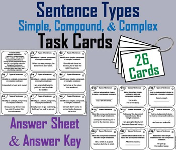 Simple, Compound, and Complex Sentences Task Cards 4th 5th