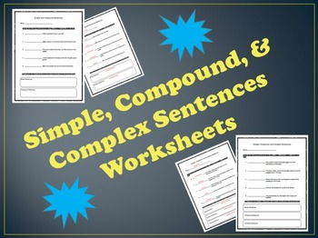 Simple and Compound Sentences - Worksheets