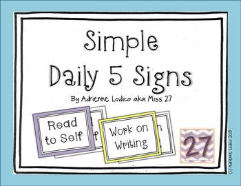 Simple Daily 5 Signs Color and Black Line