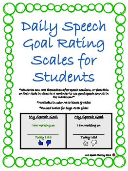 Simple Daily Speech Goal Rating Scales for Students - Mini