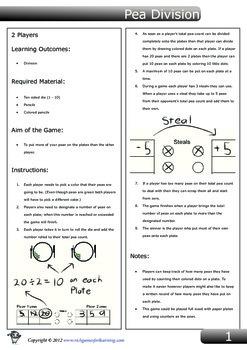 Simple Division Game - Pea Division