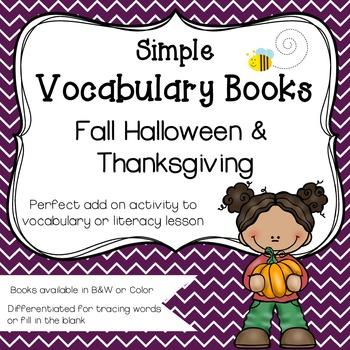 Simple Vocabulary Books {Fall, Halloween & Thanksgiving}