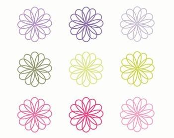 Simple Flower Clipart, Flower Set #187