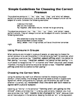 Simple Guidelines for Choosing the Correct Pronoun