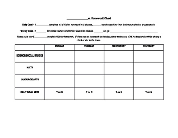 Simple Homework Chart