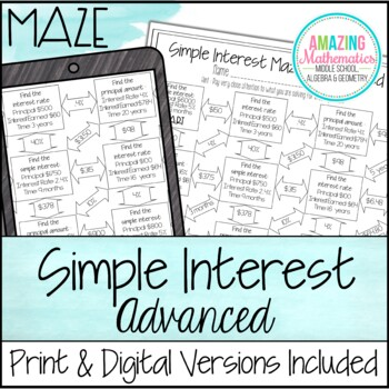 Simple Interest Maze ~ Advanced