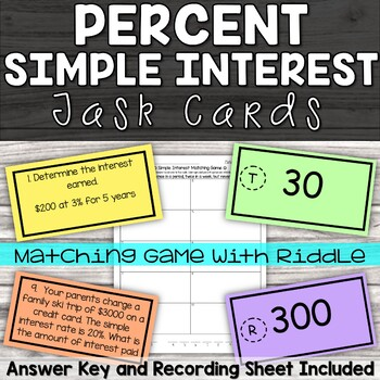 Simple Interest Task Cards - with riddle