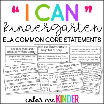 "Simple Kindergarten Common Core ELA ""I Can"" Statements"