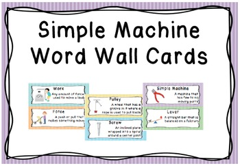 Simple Machine Word Wall Vocabulary Cards