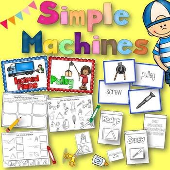 Simple Machines Flip Book, Anchor Charts, Matching Cards