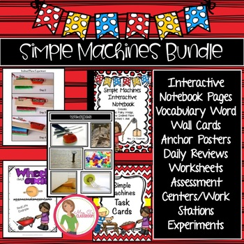 Simple Machines BUNDLE - lever, pulley, wedge, inclined pl