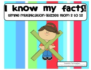 Simple Multiplication Quizzes from 2-12