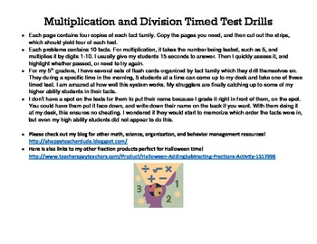 Simple Multiplication/Division Timed Test Drills