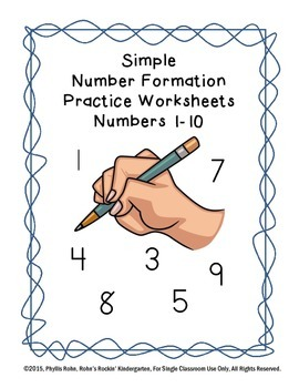 Simple Number Formation Practice Worksheets 1-10