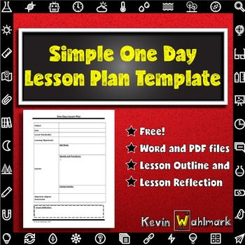 Simple One Day Lesson Plan Template