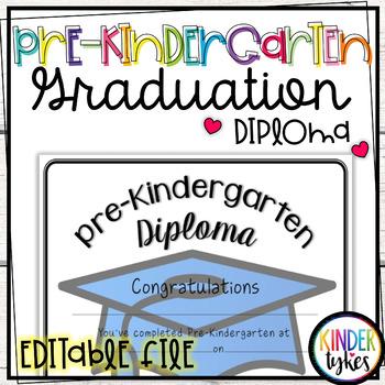 Simple Pre-K Graduation Diploma with EDITABLE file