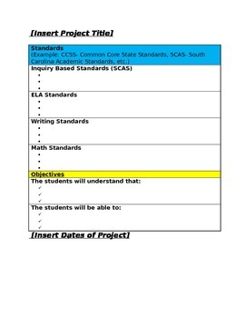 Simple Project Based Learning/PBL Lesson Plan Template