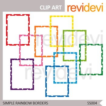 Simple Rainbow Borders - Commercial use clip art - Seller