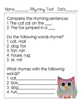 Simple Rhyming Test Freebie